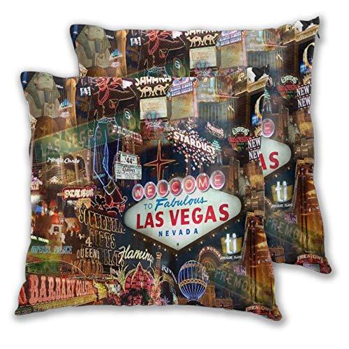 WINCAN 2 Stück Deko-Kissenbezug 45x45cm,Fabelhaftes Vegas Sahara Casino Royale Fremont,quadratisch Kissenbezüge für Sofa Bett Wohnzimmer Schlafzimmer Inneneinrichtungen