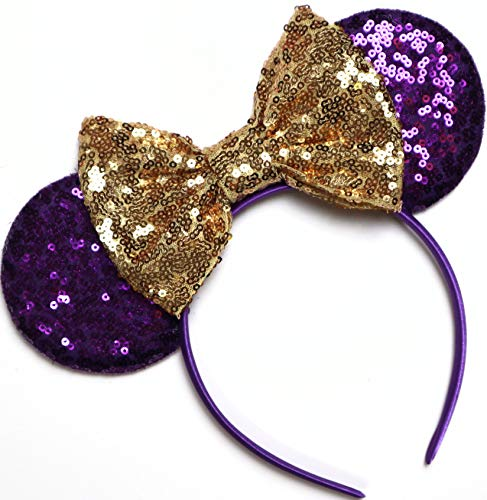 CLGIFT Rapunzel Inspired Minnie Ears, Tangled Minnie Ears, Princess Rapunzel, Purple Mickey Minnie Ears (Purple gold bow)