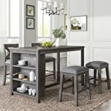 Life In Color 5-Piece Dining Room Table Set, Compact Bar Pub Table Set, Height Rustic Farmhouse Wooden Dining Room,Perfect for Small Kitchen Dining Room (Gray+Wood+1table+2chairs+2stools)