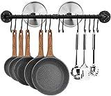 Toplife - Barra de cocina industrial de 80 cm para colgar en la pared, cocina, soporte de maceta de hierro con 14 ganchos para utensilios de cocina