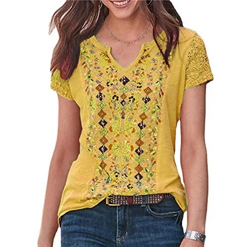 Bedrukte V-hals Retro Fashion Casual Eenvoudige Stijl T-shirt met korte mouwen voor vrouwen - geel - 5XL
