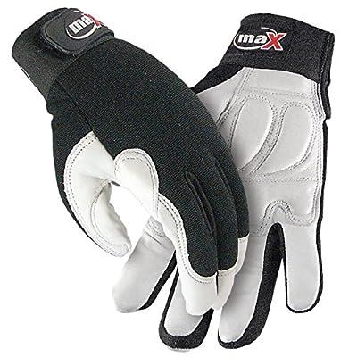 Galeton maX Defender Plus Goatskin Rubber Padded Palm Mechanic/Utility Work Gloves, White/Black