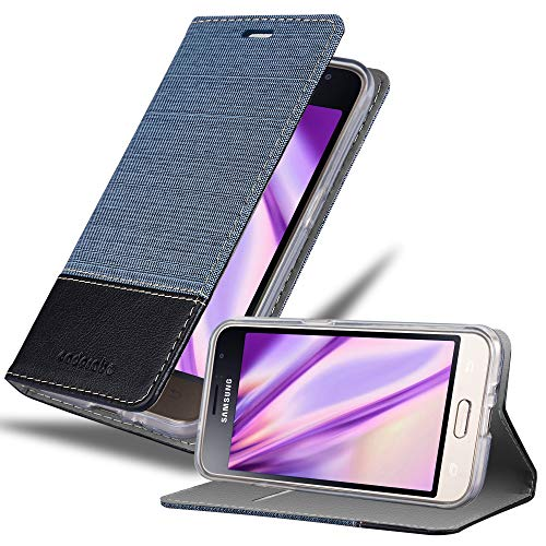 Cadorabo Custodia Libro per Samsung Galaxy J1 2016 in Azzurro Scuro Nero - con Vani di Carte, Funzione Stand e Chiusura Magnetica - Portafoglio Cover Case Wallet Book Etui Protezione