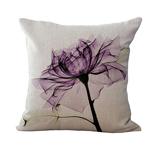 Bluelans Linen Blend Sofa Modern Flower Cushion Cover Square Pillow Case 18x18inch (Purple)