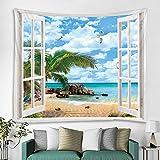 WAZA Arazzo da parete Cielo blu e nuvole bianche Spiaggia alberi di cocco Arazzi Asciugamani da spiaggia Tappetini da yoga Fogli da tavolo Decorazione murale per casa Ufficio Camera da letto