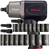 TZTool 1200 All new Diesel 1/2' AIR Impact wrench set w 21 PC Deep impact sockets and Extension