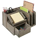 MyGift Rustic Gray Wood Desktop Office Organizer w/Sticky Note Pad Holder, Mail Sorter & Pullout Drawer