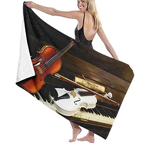 NINEHASA Telo Mare Microfibra Antisabbia,I tasti del pianoforte sono spartiti vintage per violini bianchi e in legno,Asciugamano da Spiaggia Asciugatura Rapida per Palestra,Nuoto,Campeggio