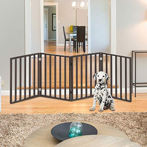 PETMAKER Wooden Pet Gate- Foldable 4-Panel Indoor Barrier Fence, Freestanding & Lightweight Design for Dogs, Puppies, Pets- 72 X24 (Brown Stain)