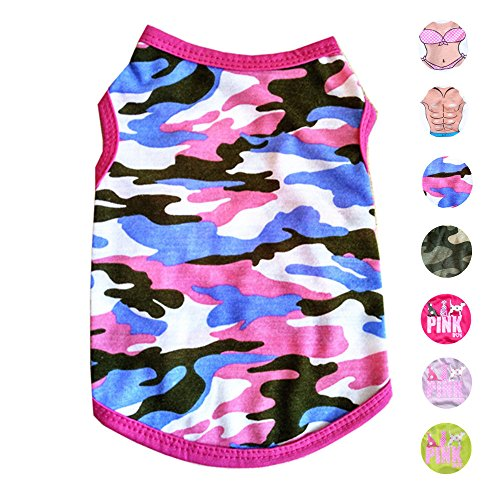 Alroman Dog Shirts Pet Shirts Dog T-Shirt Puppy Tee Dog Vest Puppy Vest Pet Clothes for Small Dogs and Cats Doggie Camouflage Shirt Puppy Summer Apparel Dogs Pink Camo Shirt Pet Beach Wear(S)