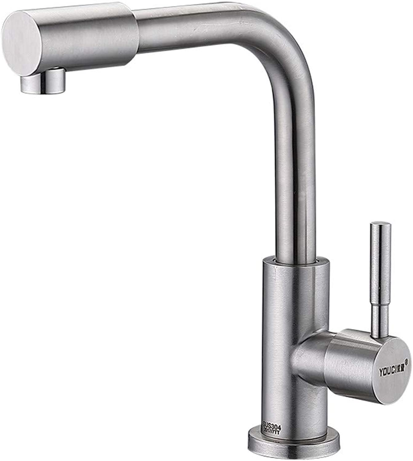 Decorry 304 Stainless Steel redary Joint Vanity Basin Mixer Single Cold Water Tap