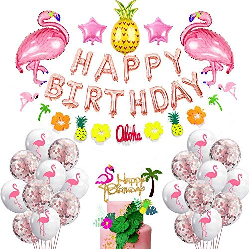 caicainiu Hawaii Flamingo und Ananas Geburtstagsparty Lieferung Flamingo Ananas Ballons Happy Birthday Banner Tropical Garland Flamingo Cake Topper Photo Booth Props Hawaiian Dekorationen