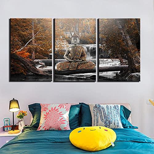 SGDJ Buda Abstracto Impresiones en Lienzo Pintura Decoración para el hogar Arte de la Pared Posters 3 Piezas con Marco