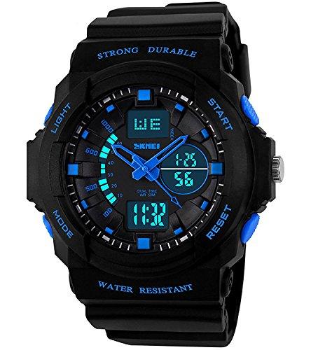 BO Yi Unisex Reloj Deportivo multifunción Verde luz LED Digital Resistente al Agua S–Choque Reloj de Pulsera (Verde)