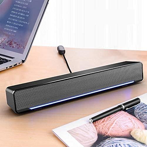 Electronics Computer Speaker 3D Stereo Sound Deaktop USB 3.5mm Wired Control Soundbar Digital Computer Electronics (Color : Black) (Color : White, Size : -)