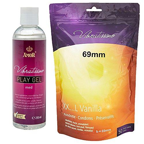 """XXL oferta especial - Amor Vibratissimo® """"MiTalla 69mm + 250ml PlayGel med"""" 50 pack preservativos, condones para una sensación auténtica"""