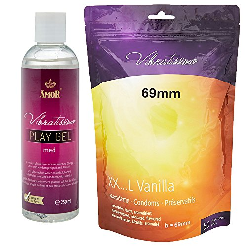 Vibratissimo Markenkondome Vorteilspack, 50 XXL-Kondome 69mm + 250ml Gleitgel