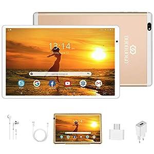 Tablet 10.1 Pulgadas Android 10 Quad Core, Certificación Google GMS 4 GB RAM 64GB/128GB ROM 8000mAh Tablet Dual SIM Tablet 10 Pulgadas Buenas,IPS, 5+8 MP, Disney +, OTG, Netfilix (Oro)
