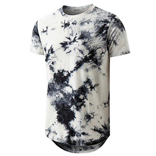 Camiseta masculina Hip Hop com bainha curva hipster tingida, White 2, X-Large