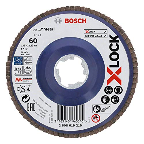Bosch Professional gerade Fächerschleifscheibe Best (für Metall, X-LOCK, X571, Ø125 mm, Körnung K60, BohrungsØ 22,23mm)