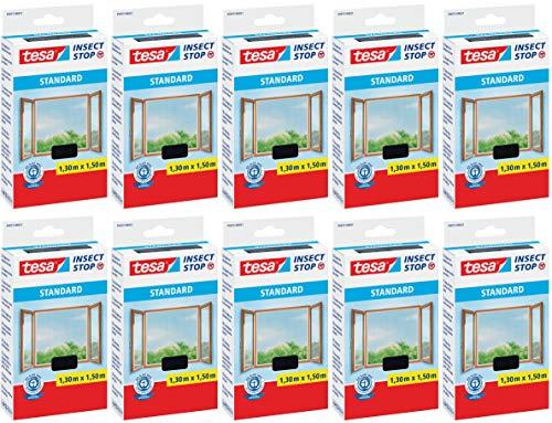 tesa® Insect Stop STANDARD Fliegengitter für Fenster - Insektenschutz zuschneidbar - Mückenschutz ohne Bohren - Fliegen Netz anthrazit, 130 cm x 150 cm (10)