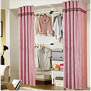Customer reviews ZHFC Coat rack simple cloth cabinet folding steel frame reinforcement floor bedroom closet clothing collection