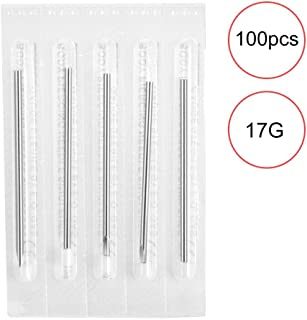 100PCS Piercing Needles Sterile Disposable Tattoo Needles for Nose Ear Lip Nipple Eyebrow(17G)