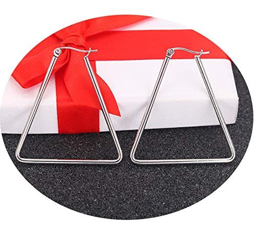 AnazoZ Pendientes de Mujer Pendientes Triangular Hueco Pendientes Aro Acero Inoxidable Pendientes Plata