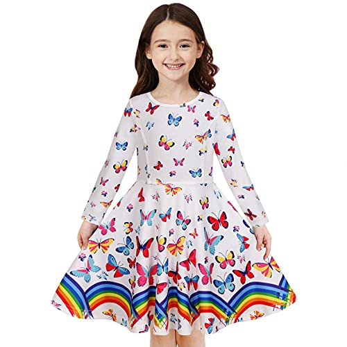 YWLINK Vestido De Manga Larga Invierno NiñAs Vestido Falda Tutú Giratoria Vestido De Princesa De Baile Lindo Vestido De Fiesta De Boda Playa Vestido Falda Larga Estampada Regalo De CumpleañOs