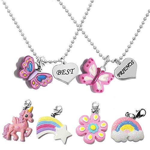 MJARTORIA BFF Cadenas para 2 cadenas de la amistad para 2 niñas collares con colgante intercambiable de unicornio, regalo para fiestas de niños, cumpleaños infantiles