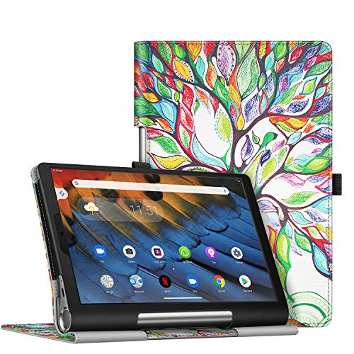 FINTIE Folio Case for Lenovo Yoga Smart Tablet, Slim Fit Premium Vegan Leather Stand Function Cover with Protective Holder for Lenovo Yoga Smart YT-X705F (10.1 inch) 2019, Love Tree