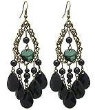 2livefor noire Boucles d'oreilles longues pendantes Noir Boucles d'oreilles en forme de goutte Bohème Vintage Baroque–Boucles d'Oreilles Pendantes Gouttes Boho