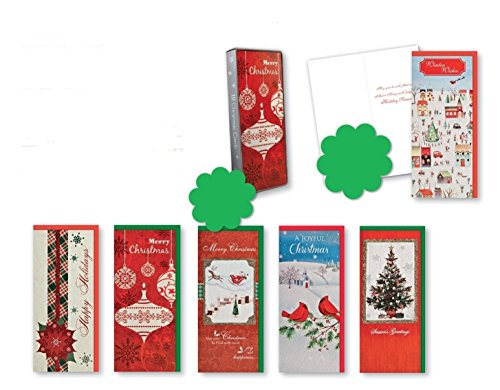 Christmas Holiday Boxed Cards Traditional Xmas Box Set Assorted with 6 Different Embellished Cards That Include Glitter Finishes Christmas Balls, Poinsettia, Tree, and Birds w/Sentiment Inside 12ct.