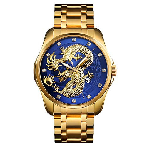 Armbanduhren,Art Und Weise Der Chinesische Art Drache Tote Relief Edelstahlarmband Business-Kalender Uhren, Gold Und Blau Gesicht