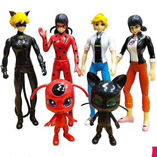 SONEN Miraculous Ladybug Toys Action Figures 10 Pcs/Set 2.76'~6' Tales of Ladybug & Cat Noir Cake Topper Decorations