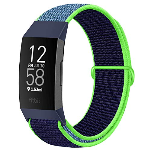 AVOD Nylon Watch Bands Compatible with Fitbit Charge 4/Charge 3/SE, Soft Replacement Wristband Breathable Sport Strap with Band for Women Men (Neon Lime)