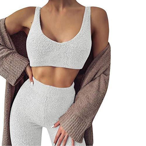 TQSDYY Pijamas Mujer Traje De Terciopelo De 2 Piezas Gimnasio Chaleco Sin Mangas con Cuello En V + Pantalones Ropa Deportiva Informal