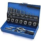 Hengda Juego de roscado de 32 piezas de acero de tungsteno métrico M3-M12, juego de roscas y troqueles de acero de tungsteno con llave de grifo