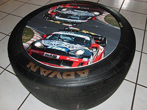 Racing Beistelltisch mit Rollen aus Racing Slick/Rennreifen org. aus der Tourenwagenmeisterschaft, Porsche Cup.