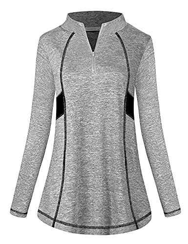MOQIVGI Gym Clothes for Women Tops Long Sleeve Quarter Zip Pullover Athletic Shirts and Tees Exercise Running Jogging Yoga Active Wear Outfits Grey Large
