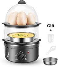 SLC Egg Cooker, Electric Egg Boiler, Rapid Egg Maker, 14 Eggs Capacity Steamer and Poacher for Hard or Soft Boiled Egg, Poached Egg, Scrambled Eggs, Omelets with Timing and Auto Shut Off Feature