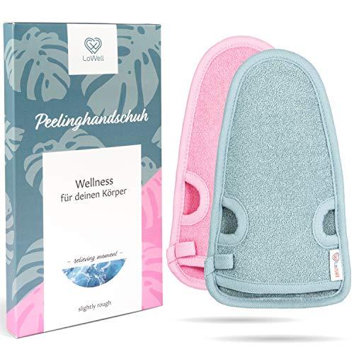 LoWell® - peelinghandschoen Premium voor lichaam en gezicht (2 stuks) - was-handschoen voor douche, sauna en stoombad - grove vezels - wellness peeling voor uw huid - massagehandschoen (grijs of roze)