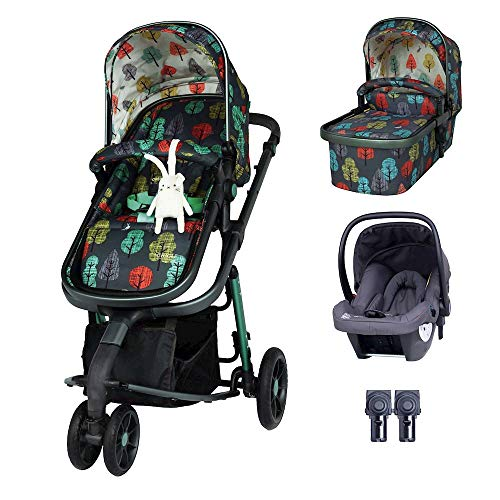Cosatto Giggle 3 Pram Pushchair Travel System Bundle – from Birth to 18kg, Hold Car Seat & Adaptors, Hare Wood, Multi Color