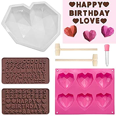 7 Pieces Diamond Heart Silicone Molds Set for C...
