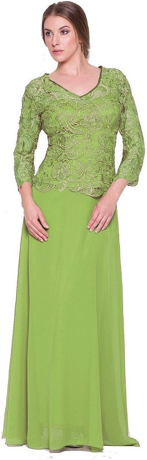 SecretCastle Women's Vneck Lace Long Mothe of Bride Formal Gown SCT446