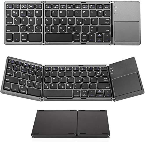 Jelly Comb Faltbare Bluetooth Tastatur, Wiederaufladbare Ultra-Dünne Tastatur mit Touchpad, Deutsches Layout QWERTZ für Handy, Tablets und Smartphone mit iOS/Windows/Android, Grau