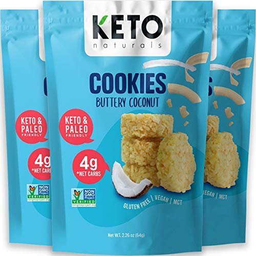 Keto Cookies Faster Fat Burn MCT - (Buttery Coconut) Low Carb Snacks food. Gluten Free Healthy Diabetic snacks Atkins Keto Friendly desserts. Zero Carb added High Fat Bomb Vegan Ketosis mini bites, Pack of 3 x 2.26oz.