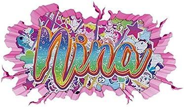 3D muur tattoo graffiti nina meisjes naam muur sticker muur doorbraak meisje sticker muurschildering kind kamer 11u151 ca....