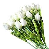 10/20 Stück Künstliche Tulpen, Künstliche Deko Blumen Latex Blumendekoration Tulpen mit Blätter Unechte Kunstblume für Zeremonie Party Hochzeit Home Office Wohnzimmer (20pcs, Weiß)