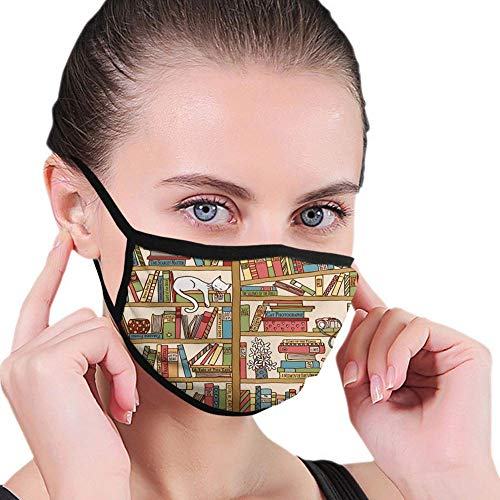 Comfortable mask,Cat,Nerd Book Lover Kitty Sleeping Over Bookshelf Library Academics Feline Boho Design,Brown Pink,Printed Facial Decorations for Man and Woman JP-0526